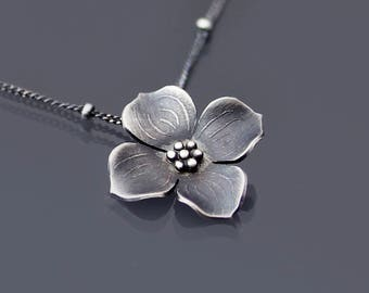 Sterling Silver Dogwood Blossom Necklace - Dogwood Flower Pendant - Nature Jewelry