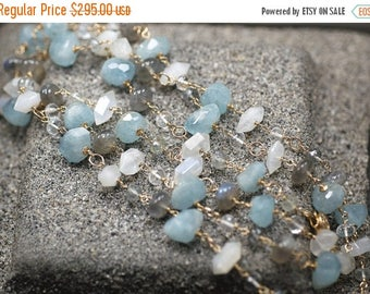 Summer SALE Aquamarine, Labradorite, Clear Quartz, Rainbow Moonstone, Moss Aquamarine, 14k Gold Filled clasp ... MOSELLE Necklace