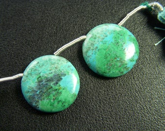 Large Chrysocolla Malachite Polished Coins - Pair - 20mm