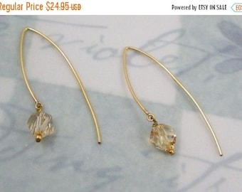 ON SALE Simply Stated in Gold  with Swarovski Crystal Earrings