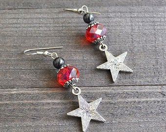 ON SALE Silver Star Earrings Lucky Star Charms with Red Faceted Crystals Hematite and Sterling Silver Earwires