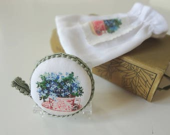 Tape Measure Antique Teacup Forget Me Not Flowers Printed Vintage Illustration Vintage Fabric Handmade Retractable - EnglishPreserves