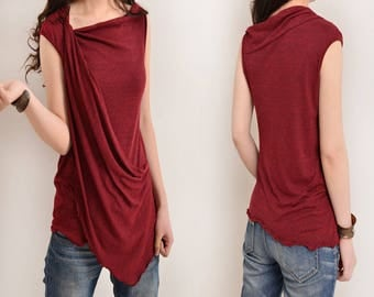 Free Shipping SALE WINE size XS - My Zen 2 - draping tank top (Y3112)
