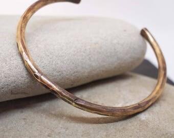 Unisex Heavy Rustic Bronze Cuff, 8th Anniversary Gift, Bronze Anniversary, His and Her's Cuff