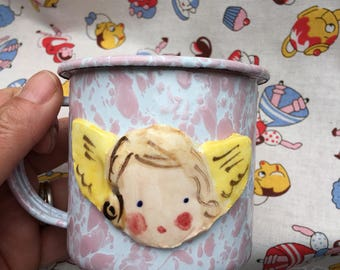 Enamelware Mug, Childrens Enamelware Cup, Pink and white Cup with Angel ,Childs birthday Gift