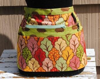 Handmade Vendor Apron Hedgehog and Abstract Trees  Utility Craft Farmers Market Teacher
