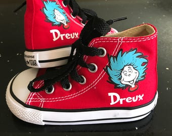 Thing 1 Thing 2 Shoes - Dr Seuss Cat in the Hat Custom Kid Converse Shoes - Custom Personalized High Top Converse Shoes