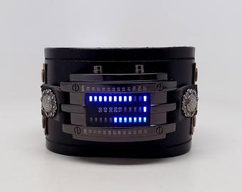 Steampunk LED watch. wrist watch. leather cuff watch
