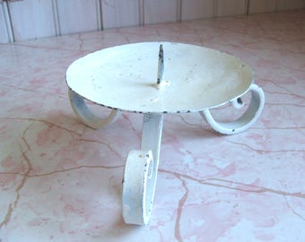 Shabby Vintage White Painted Metal Pillar Candleholder