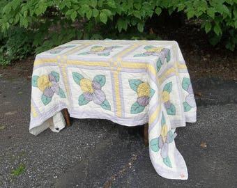 Antique Flour Sack Quilt 80 x 84 Flower Quilt Vintage Bedding Bedspread Cottage Chic Prairie Decor