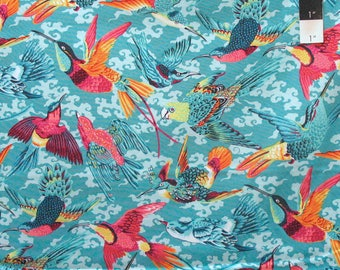 Free Spirit Snow Leopard Natural World Tropical Birds Tropic Fabric By Yard