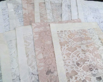 15 Vintage Lace Panels from Sales Book 9x14 White Lace Cream Lace for Crafts Sewing
