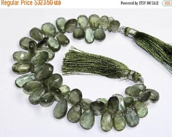 """Sale 45% off 7"""" Natural Moss Aquamarine Faceted Pear Briolettes - Size 7x10 - 9x16 mm - Semiprecious Loose Gemstone Beads MA01"""