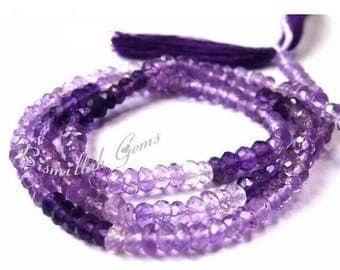 50% Off Sale AAA Amethyst Micro Faceted Shaded Rondelles Size 3.5mm Approx Length 14 Inches