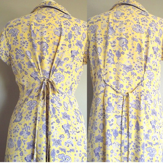 April Cornell Vintage Grunge Maxi Dress // Yellow with Lavender Floral Design // Size Medium
