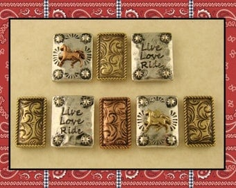 2 Hole Beads Horse Live Love Ride Engraved & Flourish Spacer Bars 3T Metal Jewelry Design Bracelet Watch Band Magnet QTY 8   (SKU 585999513)
