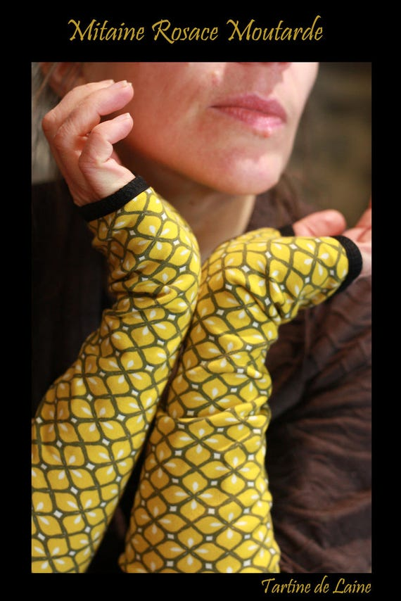 Glove/cuff lined with jersey cotton lime green rose long