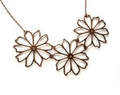 Three flowers delicate statement necklace, antique copper finish