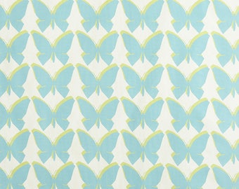 Teal Butterfly Drapery Panels - Pair/ 2 Panels - Jennifer Adams Home Chambord Caribbean Fabric
