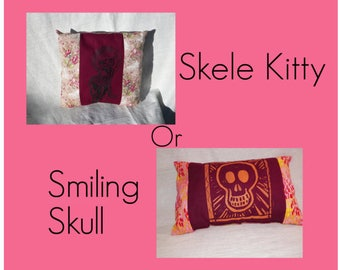 Skele Kitty Dia de los Muertos Tawny Port Pillow Screen printed Skeleton Kitty and Pink Roses Or Sunset Smiling Skull Your Choice of One