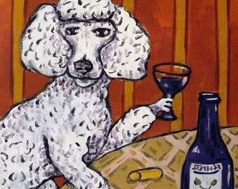20 % off storewide Poodle,poodle art. TILE, coaster, wine, wine art, dog, dog art, poodle tile, poodle coaster, gift, modern, folk