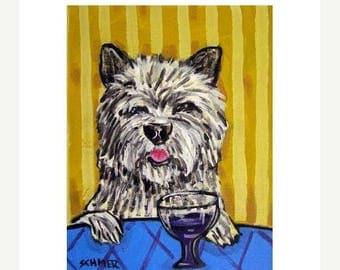 20% off storewide Cairn Terrier, cairn terrier art, cairn terrier print , wine, art ,  print , 11x14 print , painting , poster gift, modern