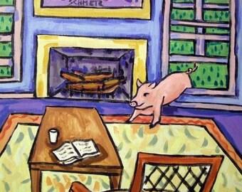 20% off storewide Pig Breaking in Animal Art Tile Coaster Gift