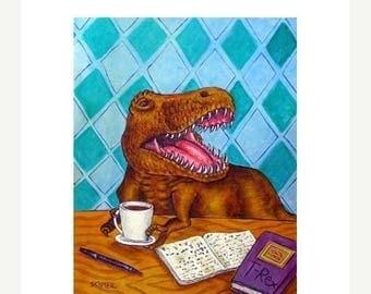 20% off Tyranosaurus at the coffee Shop Dinosaur Art Print