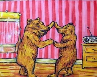 20% off Brown Bears in the Dance Studio Animal Art Tile Coaster