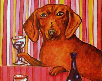 20% off dachshund at the wine bar dog art print signed 11x14