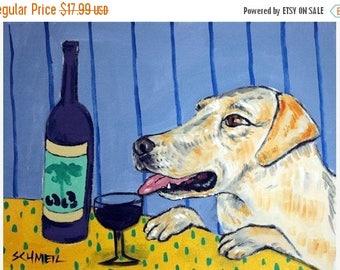 Yellow Lab at the Wine Bar Dog Art Print