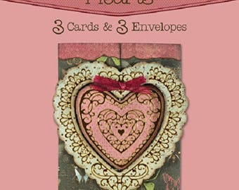 Interlocking Hearts Die-Cut Cards (3-Pack) by Hot Off The Press