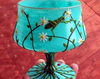 Skipping Grasshopper Amongst the Daisies Sculpted with Polymer  Clay onto a Recycled Glass Candle Holder in Light Turquoise