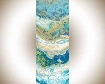Acrylic pour Colourful Abstract original artwork painting on canvas acrylic Painting fluid art blue gold white by qiqigallery