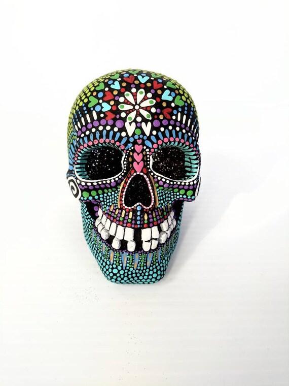 Skull hand painted Resin Skull with light light up sugar skull