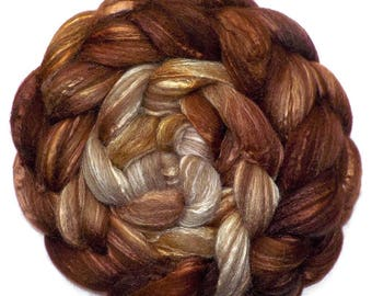 BFL/Silk Combed Top Roving Custom Blend, Latte Heather, 5.3 oz.
