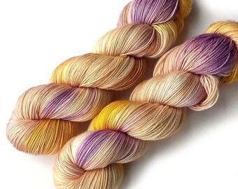 Hand Dyed Yarn Boston Beauty Sock Yarn Merino Silk Cashmere 435 yards, Soft Crocus