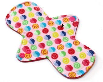 "8"" MODERATE flow Cloth Menstrual pad or pantyliner -bamboo/organic cotton core- PUL - Quilter's Cotton top - Gumdrops"