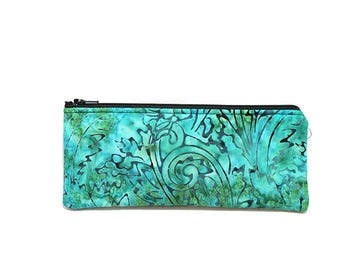 Cosmetic Case, Cord Case, Bridesmaid Gifts, All-Purpose Zipper Case, Turquoise and Black Batik 9064