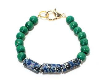 HALF PRICE SALE Green wooden and blue yin yang clay bead layering stack bracelet