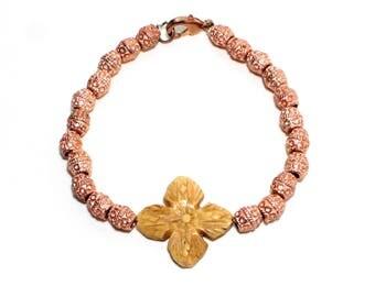 Gypsy boho carved bone flower and copper beaded stackable bracelet