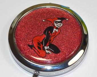 Harley Quinn Batman Animated Series Hand Painted Mirror Compact