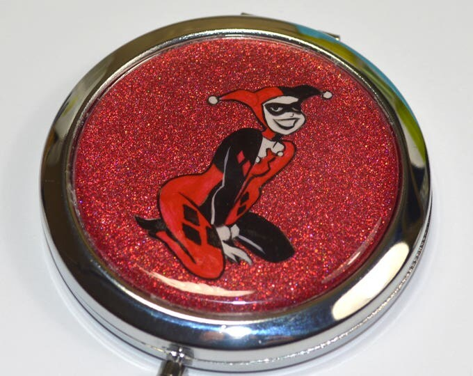 Harley Quinn Batman Animated Series Hand Painted Mirror Compact