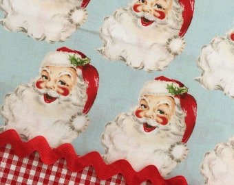 SAINT NICK Christmas Kitsch Blue 100% Cotton Quilt Fabric - by the Yard, Half Yard, or Fat Quarter Fq by Anna Griffin