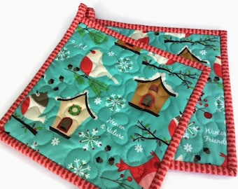 Christmas Pot Holders, Quilted Potholders, Fabric Potholders, Set of 2 Hotpads,  Gift under 20, Handmade Pot Holders
