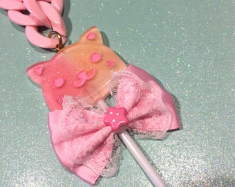 Pink Cat Lollipop Bow Heavy Chain Statement Necklace