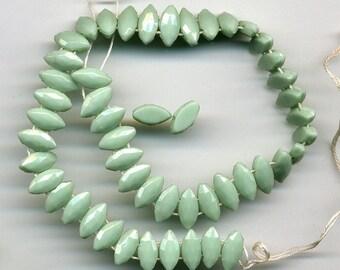 Vintage Mint Green Nailhead Beads 2 Hole Marquise 11 x 5mm 48 Pcs. Circa 1920s