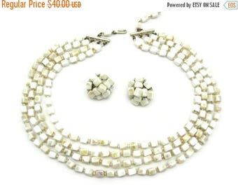 OnSale Vintage Necklace and Earring Set - Milk Glass Jewelry Set - Clip Earrings