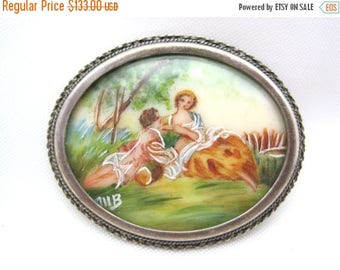 OnSale Antique Brooch - Hand Painted and Silver