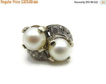 OnSale Art Deco Ring - 14k White Gold Pearl Ring, Bypass, Statement Ring, Estate Jewelry, White Topaz